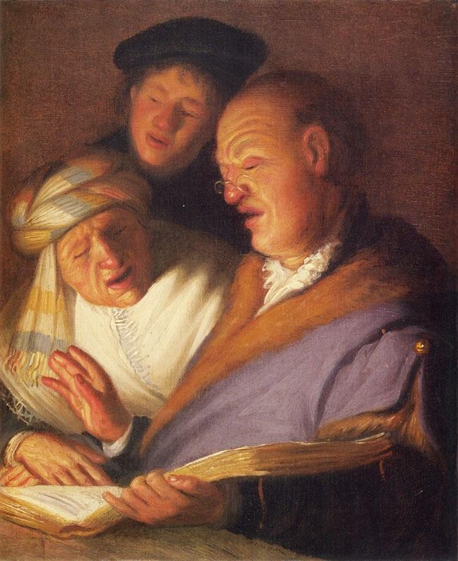 Рембрандт ван Рейн - Три певца. Слух 1625 | Золотой век голландской  живописи Барокко | ArtsViewer.com